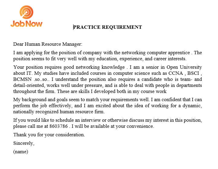 Đơn xin việc bằng Tiếng Anh