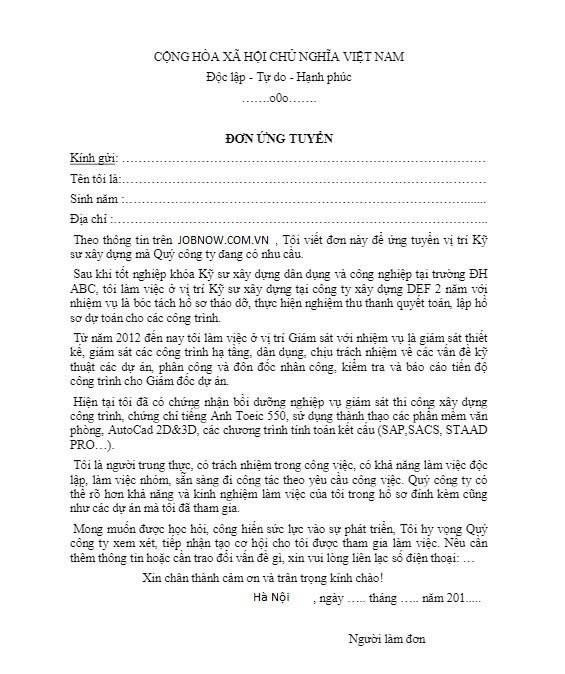 mẫu đơn xin viẹc