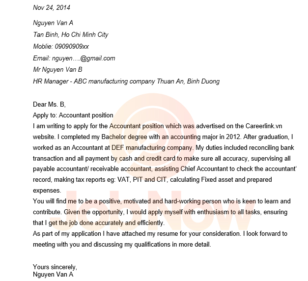Mẫu đơn xin việc bằng tiếng anh cho vị trí Accountant