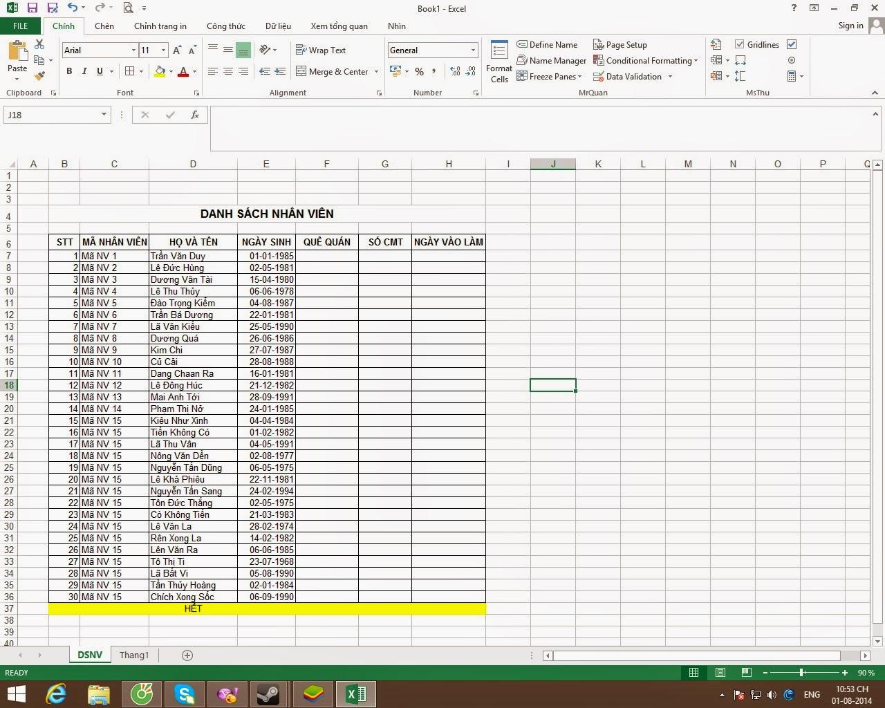 Sheet danh sách nhân viên trong bảng chấm công