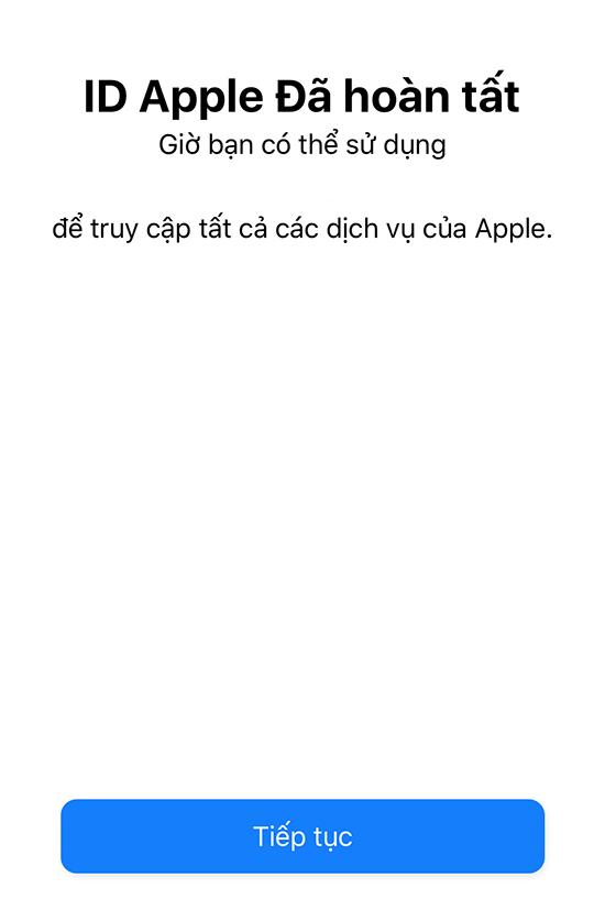 Hoàn thành quá trình đăng ký Apple ID