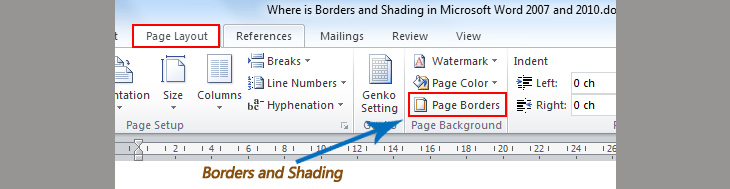 Mở Page Borders để tìm Borders and Shading