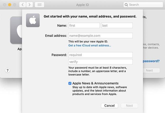 Chọn Create Apple ID