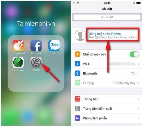 Chọn Đăng nhập vào Iphone để đăng nhập