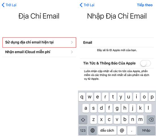 Nhập địa chỉ Email hiện tại của bạn