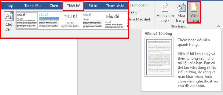 Chọn Page Borders trong Design