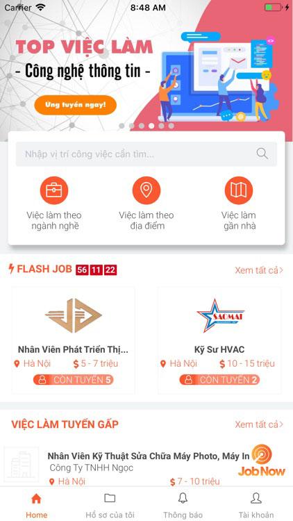 JobNow ứng dụng tìm việc làm trên điện thoại