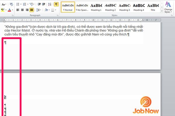 Bước 2: Bôi đen toàn bộ các trang trắng xuất hiện bởi các Paragraph và nhấn Delete để xóa trang trắng trong Word