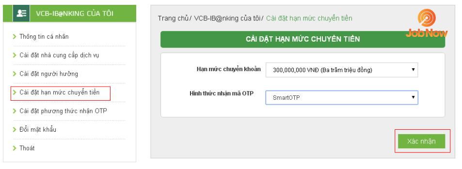 Đăng ký hạn mức chuyển khoản trong internet banking VCB