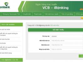 Đổi mật khẩu internet banking VCB