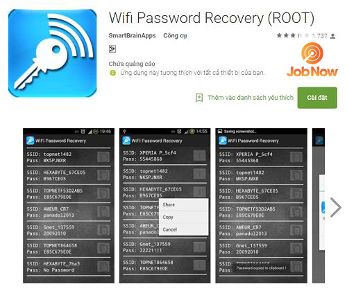 Xem mật khẩu wifi điện thoại Androids đã root