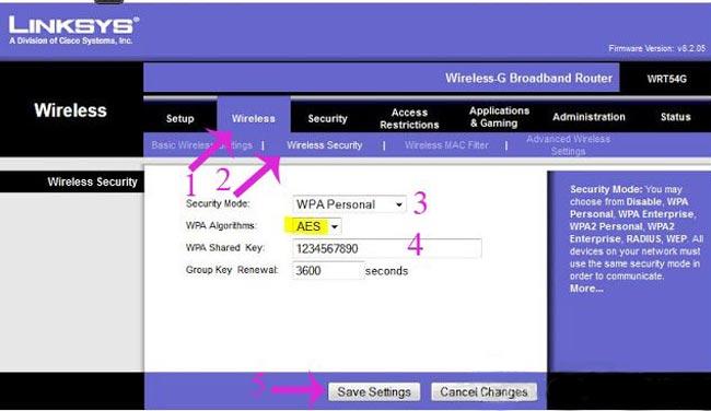 cách đổi pass wifi linksys trên máy tính