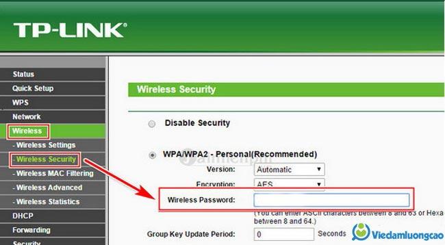 cách đổi mật khẩu wifi TP-link trên máy tính