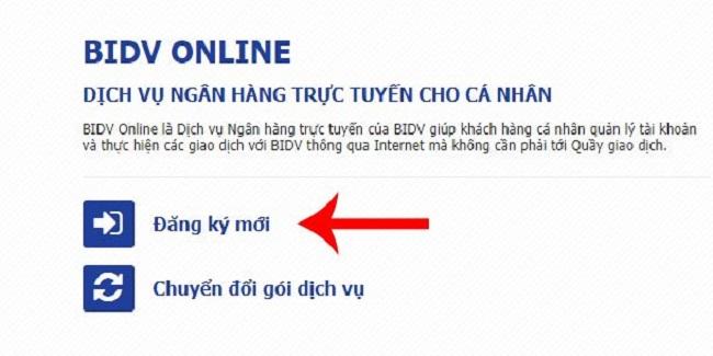 cách đăng ký internet banking BIDV online